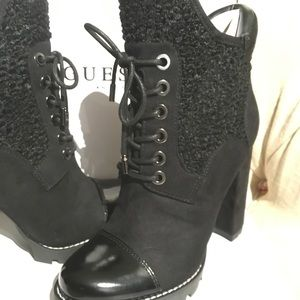 GUESS Black Ankle Boots, Size 7.5, Black, New